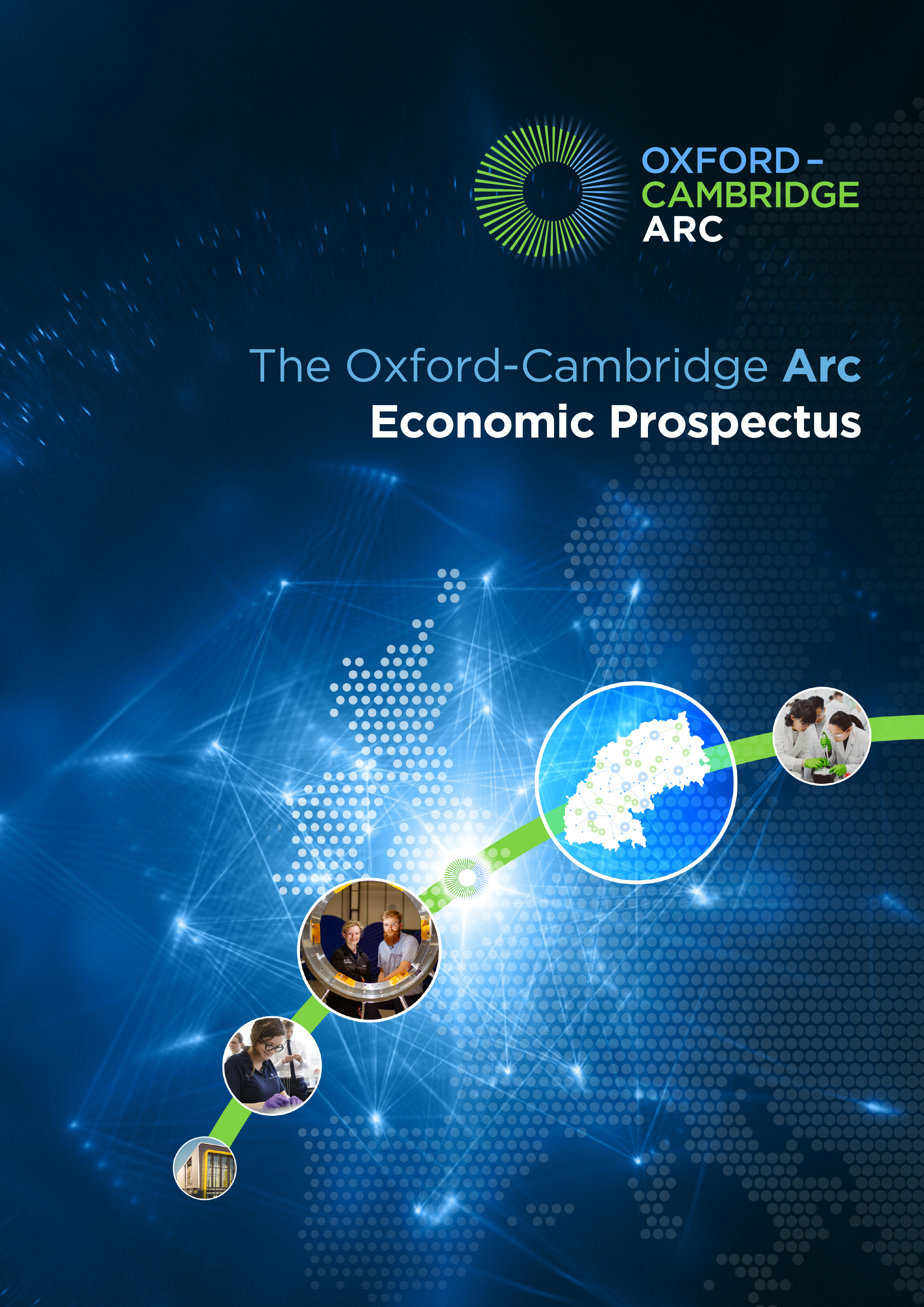 Front cover image for the Oxford-Cambridge Arc Economic Prospectus
